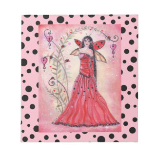 Lady love bug valentine fairy notepad by Renee