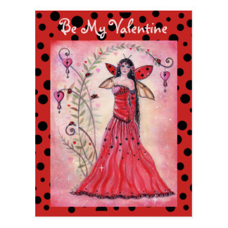 Lady love bug valentine fairy postcard by Renee