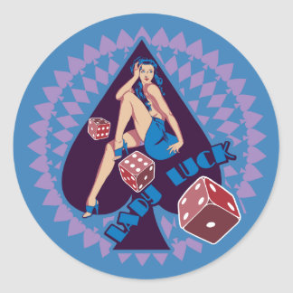 Lady Luck Classic Round Sticker
