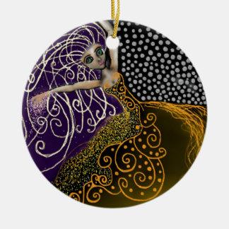 Lady Luck Round Ceramic Ornament
