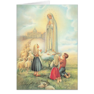 Lady of Fatima Three Children Sheep Church Card