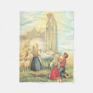 Lady of Fatima Three Children Sheep Church Fleece Blanket
