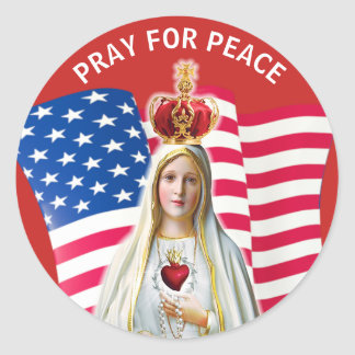 Lady of Fatima USA FLAG Blessed Mother Round Sticker