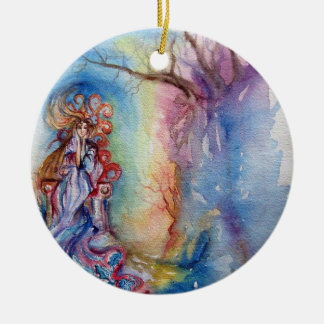 LADY OF LAKE  / Magic and Mystery Round Ceramic Ornament