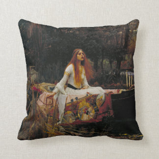 Lady of Shallot by John William Waterhouse Throw Pillow