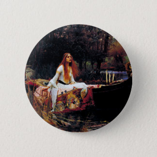 Lady Of Shallot on Boat Waterhouse Art Button