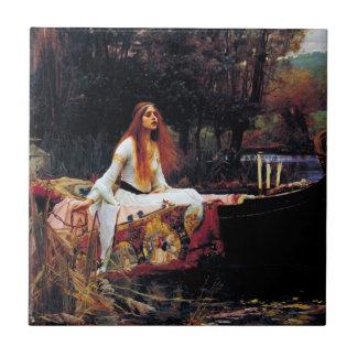 Lady Of Shallot on Boat Waterhouse Art Tile