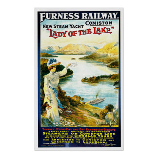 Lady of the Lake Steam Ship Vintage Travel Ad Poster