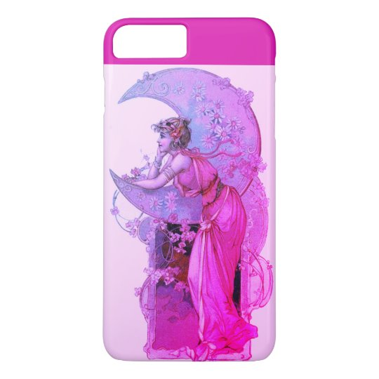 LADY OF THE MOON WITH FLOWERS IN PINK FUCHSIA iPhone 7 PLUS CASE