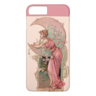 LADY OF THE MOON WITH FLOWERS IN PINK iPhone 7 PLUS CASE