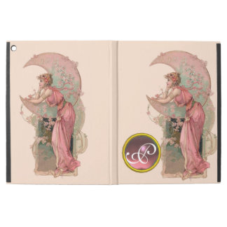 "LADY OF THE MOON WITH FLOWERS IN PINK MONOGRAM iPad PRO 12.9"" CASE"