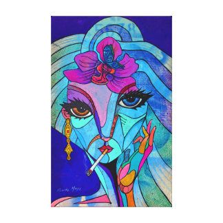 Lady of to flower canvas print