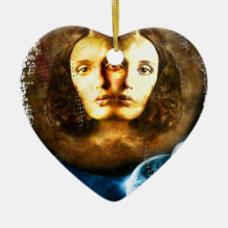Lady Of Universe Star Fantasy Cosmos Ceramic Heart Ornament