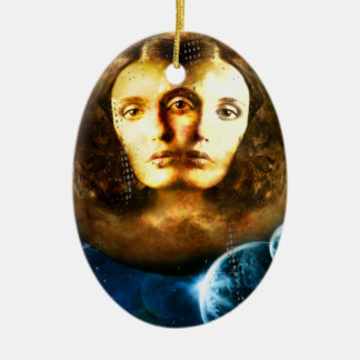 Lady Of Universe Star Fantasy Cosmos Ceramic Oval Ornament