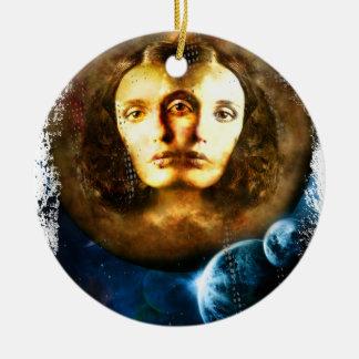 Lady Of Universe Star Fantasy Cosmos Round Ceramic Ornament