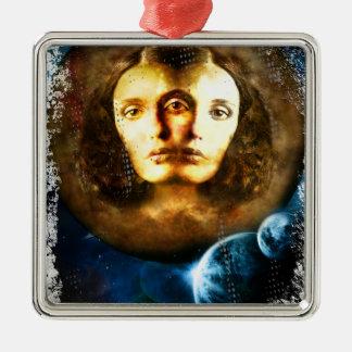 Lady Of Universe Star Fantasy Cosmos Silver-Colored Square Ornament
