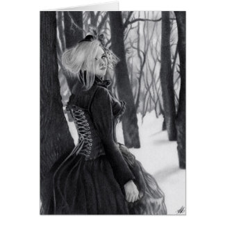 Lady of Winter Gothic Steampunk Lady  forest Card