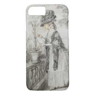 Lady on a Terrace Tending a Carnation Plant (black iPhone 7 Case