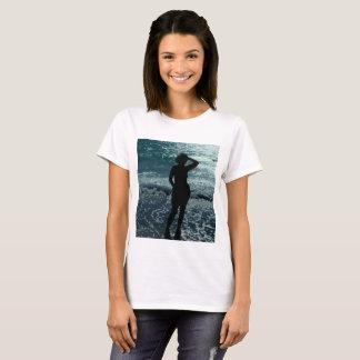 Lady On The Beach Women's Basic T-Shirt, White T-Shirt