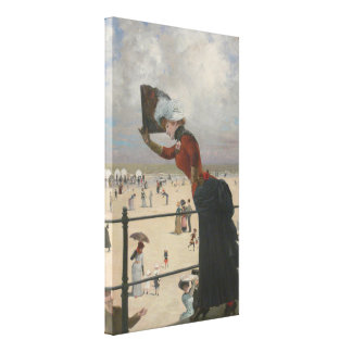 Lady on The Ground Change at Seaside - Skarbina Gallery Wrapped Canvas