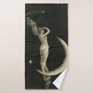 lady on the moon bath towel