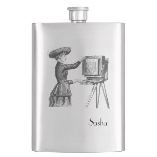 Lady Photographer with Monogram Hip Flask