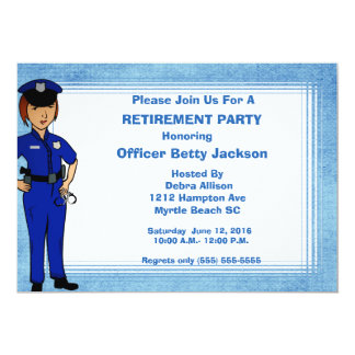 Lady Police Officer Retirement Invitation