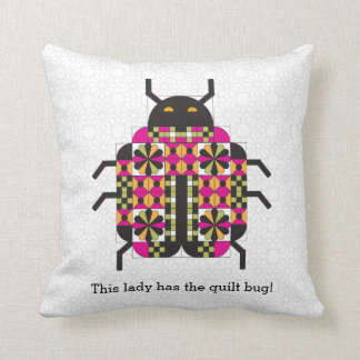 Lady Quilt Bug Throw Pillow