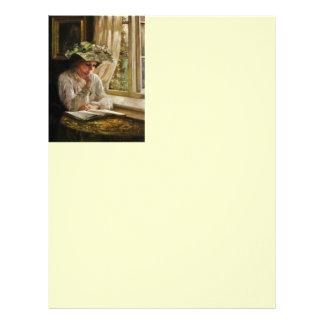 Lady Reading by Window Custom Letterhead