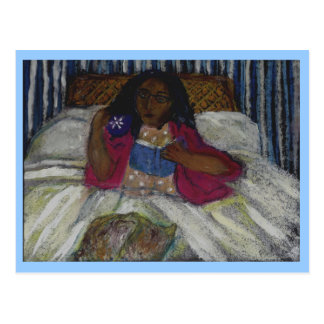 Lady reading in bed with cat and coffee - blue postcard