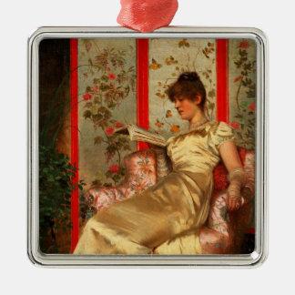 Lady Reading Silver-Colored Square Ornament