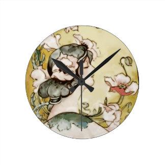 lady round clock