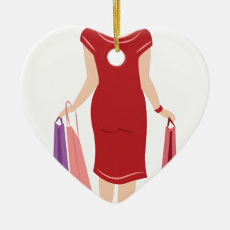 Lady Shopping Ceramic Heart Ornament