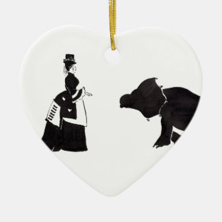Lady Shops For A Monster Ceramic Heart Ornament