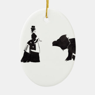 Lady Shops For A Monster Ceramic Oval Ornament