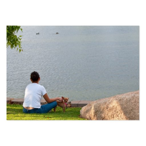 Lady Sitting At Park business cards