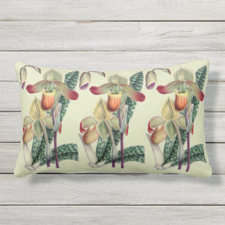 Lady Slipper Orchid Celadon Outdoor Lumbar  Pillow