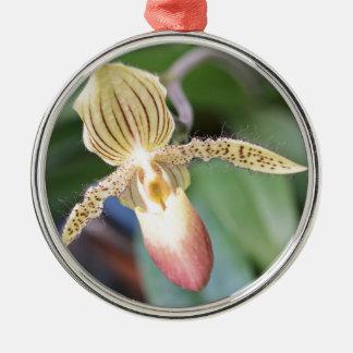 Lady Slipper Silver-Colored Round Ornament
