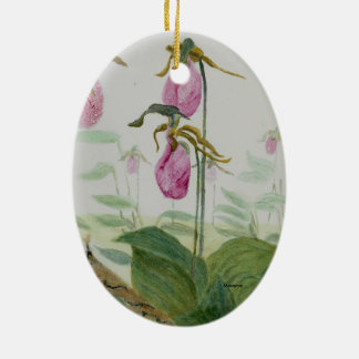 Lady Slippers Ceramic Oval Ornament