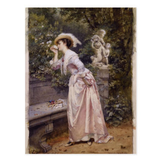 Lady Smelling Roses Postcard