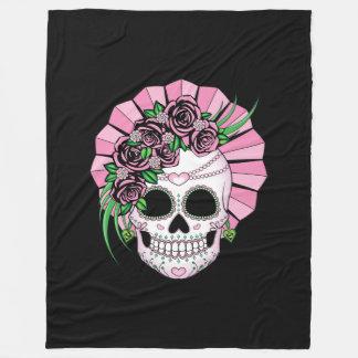 Lady Sugar Skull Fleece Blanket