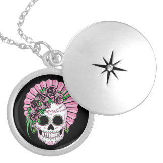 Lady Sugar Skull Silver Plated Necklace