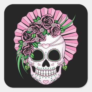 Lady Sugar Skull Square Sticker
