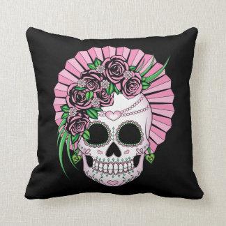 Lady Sugar Skull Throw Pillow
