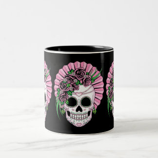 Lady Sugar Skull Two-Tone Coffee Mug