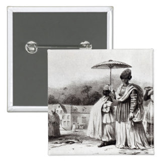 Lady taking child to Baptism 2 Inch Square Button