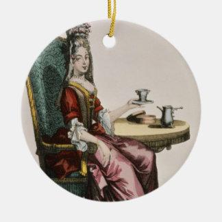 Lady Taking Coffee, fashion plate, c.1695 (engravi Round Ceramic Ornament