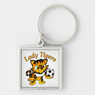 Lady Tigers Soccer Silver-Colored Square Keychain
