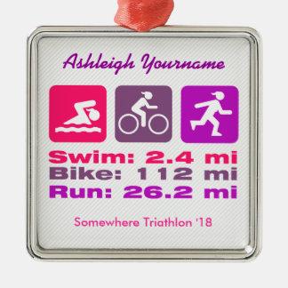 Lady Triathlete Swim Bike Run Pink Mauve Purple Silver-Colored Square Ornament