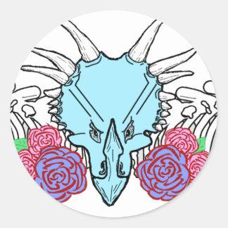 Lady Triceratops Round Sticker